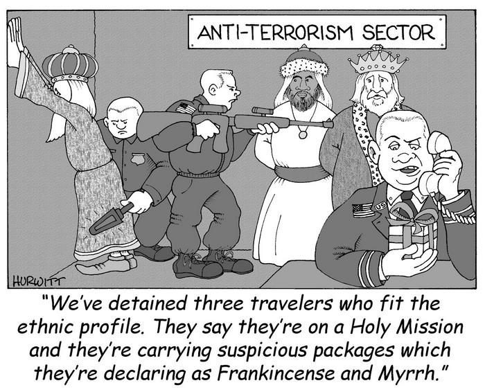 BlackCommentator.com December 17, 2015 - Issue 634: Season's Suspicions - Political Cartoon By Mark Hurwitt, Brooklyn NY