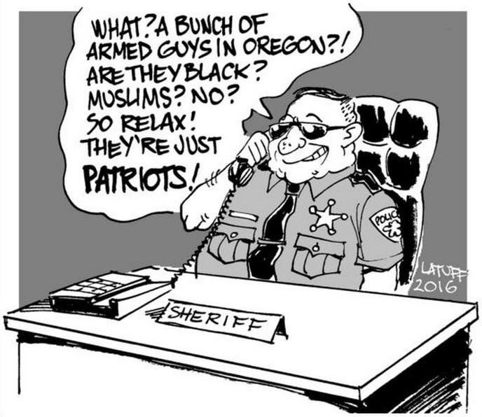 BlackCommentator.com January 07, 2016 - Issue 635: Oregon Patriots - Political Cartoon By Carlos Latuff, Rio de Janeiro Brazil