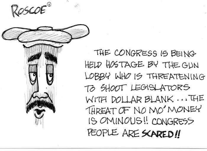 BlackCommentator.com January 14, 2016 - Issue 636: NRA Hostages - Political Cartoon By Chuck Siler, Carrollton TX