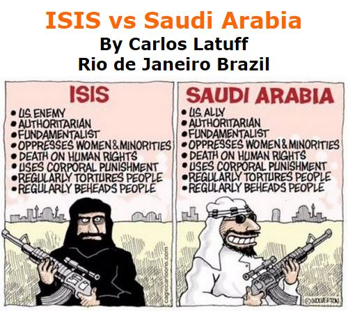 BlackCommentator.com January 21, 2016 - Issue 637: ISIS vs Saudi Arabia - Political Cartoon By Carlos Latuff, Rio de Janeiro Brazil