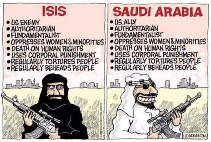 BlackCommentator.com January 21, 2016 - Issue 637: ISIS vs Saudi Arabia - Political Cartoon By Carlos Latuff, Rio de Janeiro Brazil