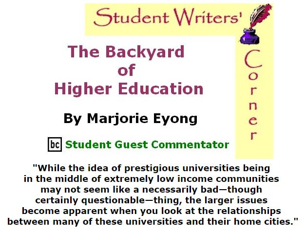 BlackCommentator.com January 28, 2016 - Issue 638: The Backyard of Higher Education By Marjorie Eyong, BC Student Guest Commentator
