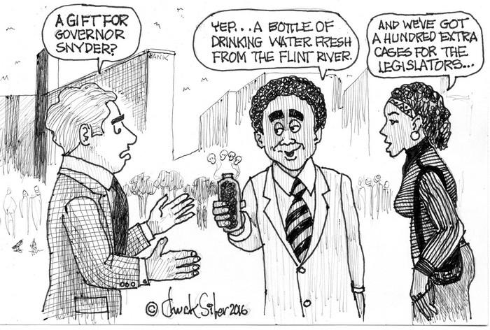 BlackCommentator.com January 28, 2016 - Issue 638: Snyder Water - Political Cartoon By Chuck Siler, Carrollton TX