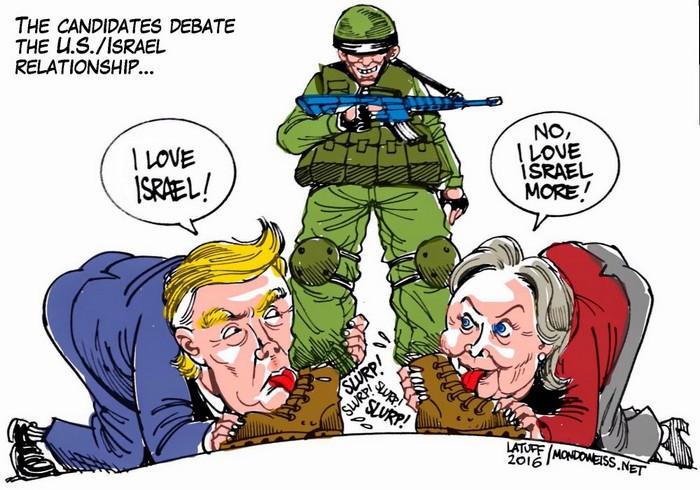 BlackCommentator.com January 28, 2016 - Issue 638: Trump Hillary - Israel - Political Cartoon By Carlos Latuff, Rio de Janeiro Brazil