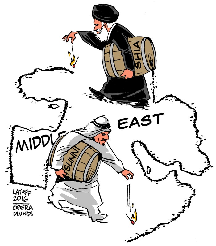 BlackCommentator.com February 04, 2016 - Issue 639: Saudi Arabia - Iran, Sunni - Shia Middle East - Political Cartoon By Carlos Latuff, Rio de Janeiro Brazil