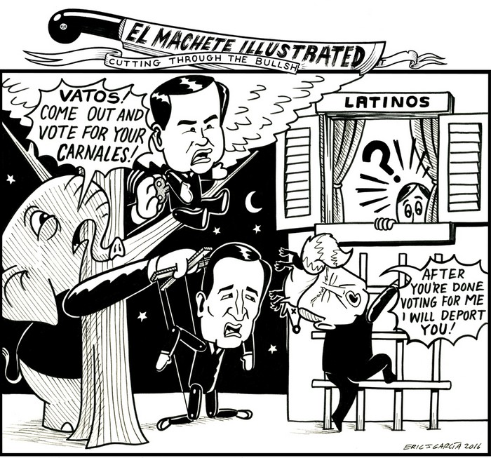 BlackCommentator.com February 11, 2016 - Issue 640: Courting Latinos - Political Cartoon By Eric Garcia, Chicago IL
