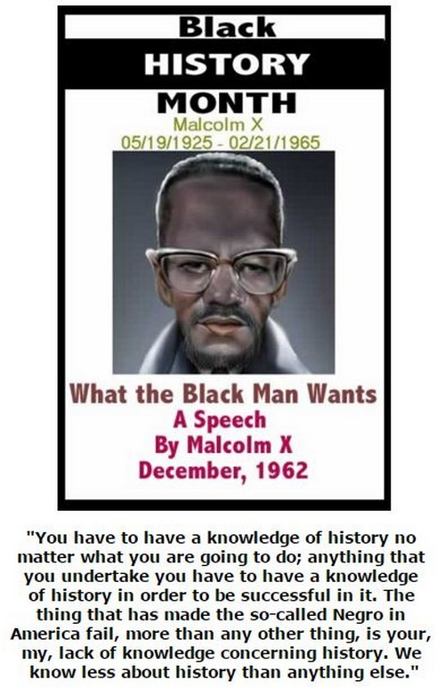 BlackCommentator.com February 18, 2016 - Issue 641: Black History Month - What the Black Man Wants - A Speech By Malcolm X - 5/19/1925 - 2/21/1965