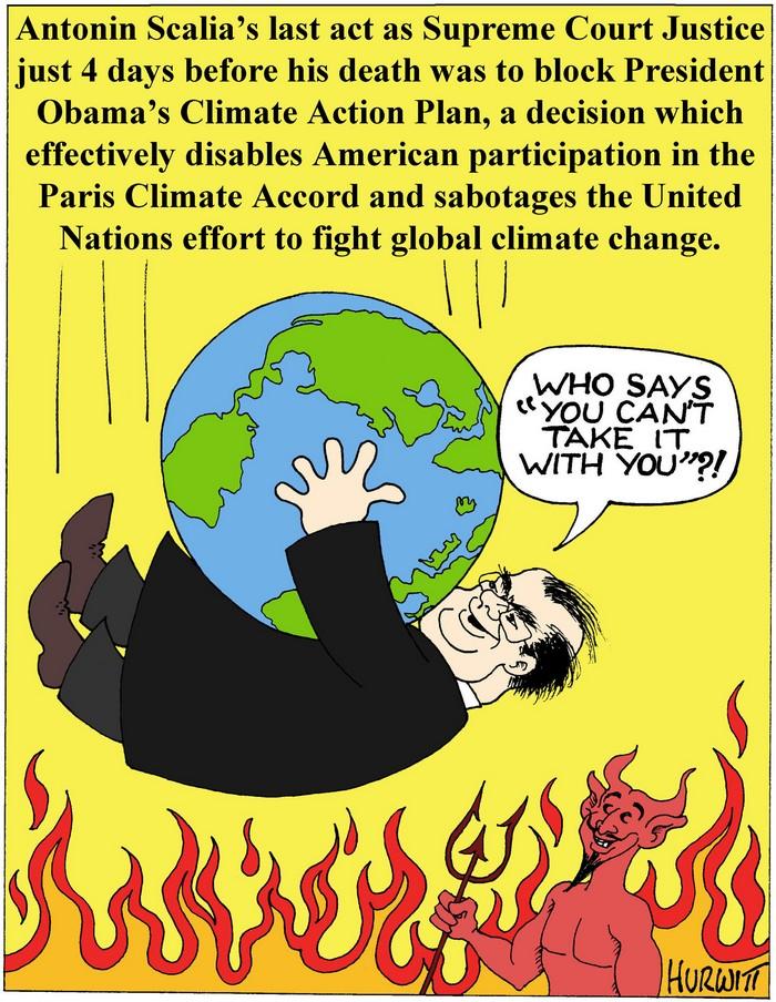 BlackCommentator.com February 18, 2016 - Issue 641: Scalia's Last Act - Political Cartoon By Mark Hurwitt, Brooklyn NY