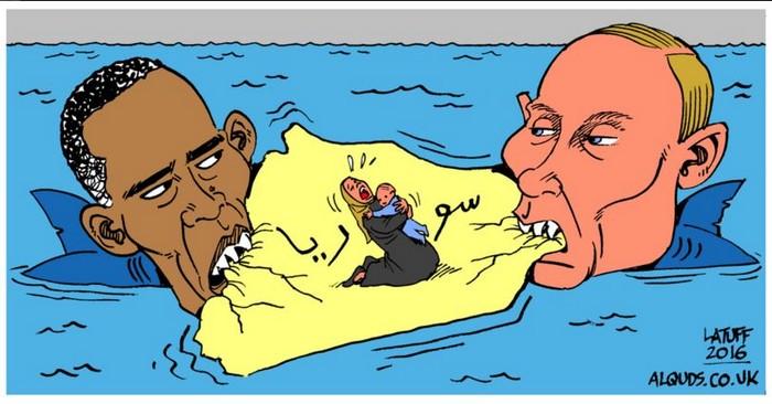 BlackCommentator.com February 18, 2016 - Issue 641: Obama and Putin - Syria Truce - Political Cartoon By Carlos Latuff, Rio de Janeiro Brazil