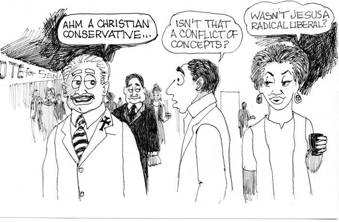 BlackCommentator.com March 03, 2016 - Issue 643: Christian Conservative - Political Cartoon By Chuck Siler, Carrollton TX