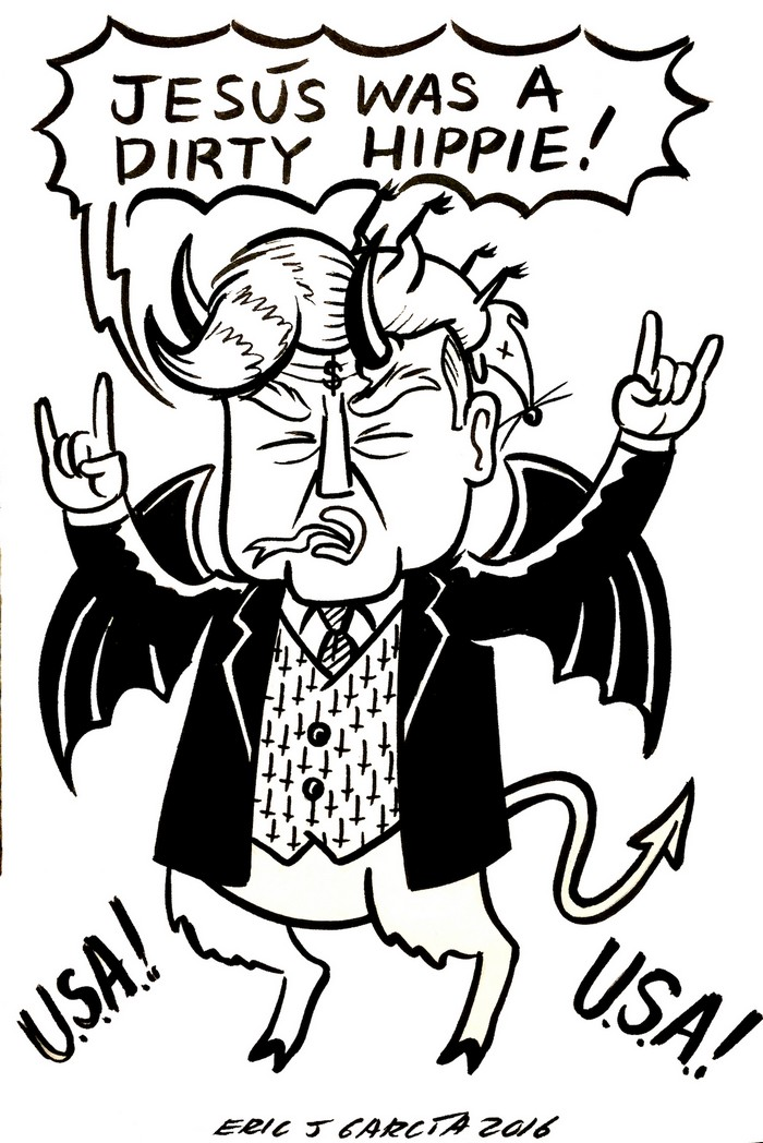 BlackCommentator.com March 03, 2016 - Issue 643: Devil Trump - Political Cartoon By Eric Garcia, Chicago IL