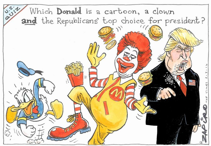 BlackCommentator.com March 10, 2016 - Issue 644: U.S. Trump Quiz - Political Cartoon By Zapiro, South Africa