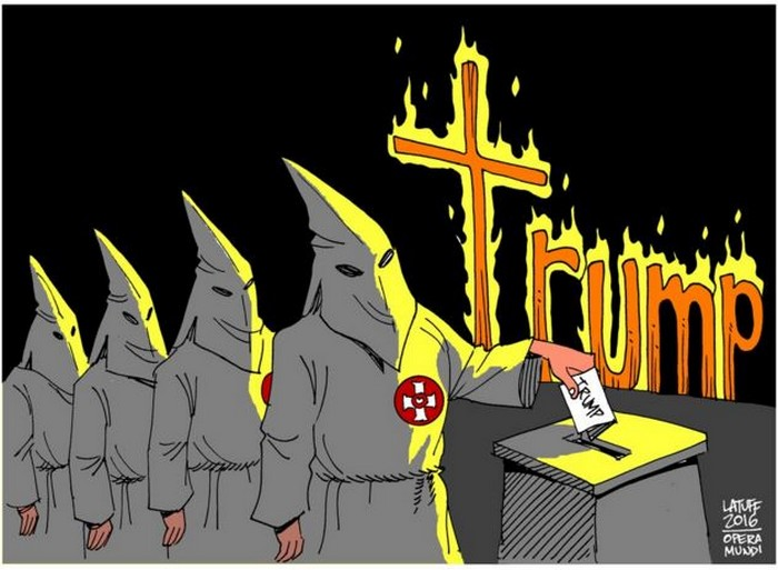 BlackCommentator.com March 17, 2016 - Issue 645: Trump Unearthing Hatreds - Political Cartoon By Carlos Latuff, Rio de Janeiro Brazil