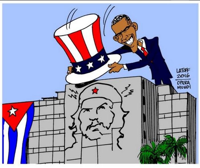 BlackCommentator.com March 24, 2016 - Issue 646: Obama in Cuba - Political Cartoon By Carlos Latuff, Rio de Janeiro Brazil