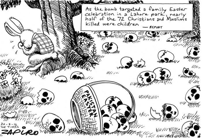 BlackCommentator.com March 31, 2016 - Issue 647: Taken Too Soon: Pakistan Easter Chicks - Political Cartoon By Zapiro, South Africa