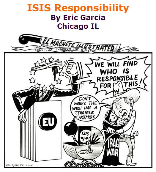BlackCommentator.com April 07, 2016 - Issue 648: ISIS Responsibility - Political Cartoon By Eric Garcia, Chicago IL