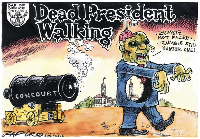 BlackCommentator.com April 07, 2016 - Issue 648: Zombified - Zuma: A Dead President Walking Political Cartoon By Zapiro, South Africa