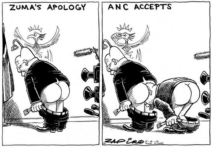 BlackCommentator.com April 14, 2016 - Issue 649: Zuma Apologises - The ANC Kowtows - Political Cartoon By Zapiro, South Africa