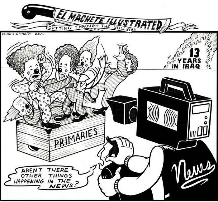 BlackCommentator.com April 21, 2016 - Issue 650: Clown Show - Political Cartoon By Eric Garcia, Chicago IL