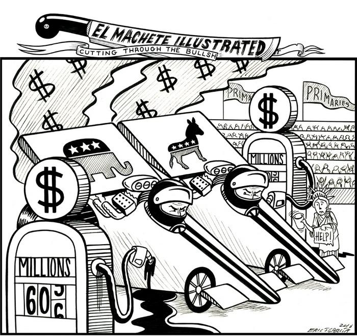 BlackCommentator.com April 28, 2016 - Issue 651: Campaign Fuel - Political Cartoon By Eric Garcia, Chicago IL