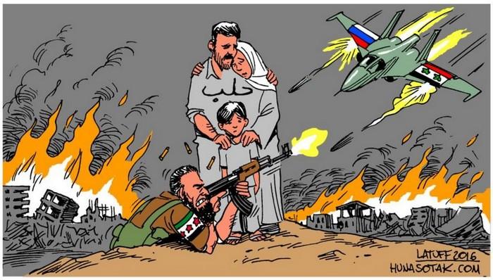 BlackCommentator.com May 05, 2016 - Issue 652: Aleppo is Burning - Political Cartoon By Carlos Latuff, Rio de Janeiro Brazil