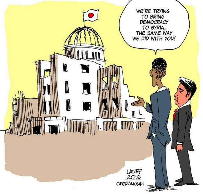 BlackCommentator.com May 12, 2016 - Issue 653: President Obama in Hiroshima - Political Cartoon By Carlos Latuff, Rio de Janeiro Brazil