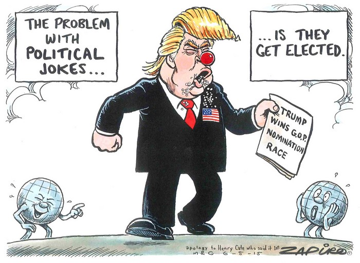 BlackCommentator.com May 12, 2016 - Issue 653: New GOP candidate: Clown or Trump card? - Political Cartoon By Zapiro, South Africa