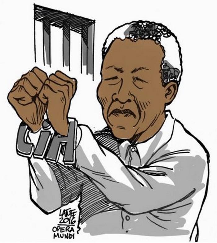 "BlackCommentator.com May 26, 2016 - Issue 655: CIA Responsible for Mandela Arrest as ""Terrorist"" - Political Cartoon By Carlos Latuff, Rio de Janeiro Brazil"