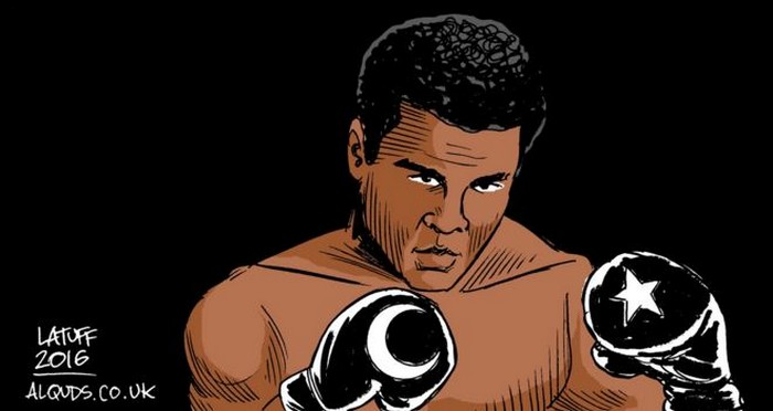BlackCommentator.com June 09, 2016 - Issue 657: Muhammad Ali: 1942 - 2016 - Political Cartoon By Carlos Latuff, Rio de Janeiro Brazil