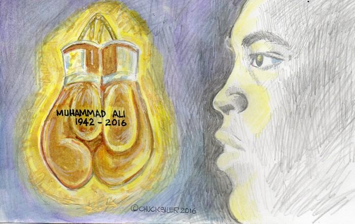 BlackCommentator.com June 09, 2016 - Issue 657: Muhammad Ali 1942 - 2016 - Political Cartoon By Chuck Siler, Carrollton TX