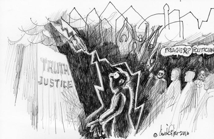 BlackCommentator.com June 23, 2016 - Issue 659: Lightning Bolt - Political Cartoon By Chuck Siler, Carrollton TX