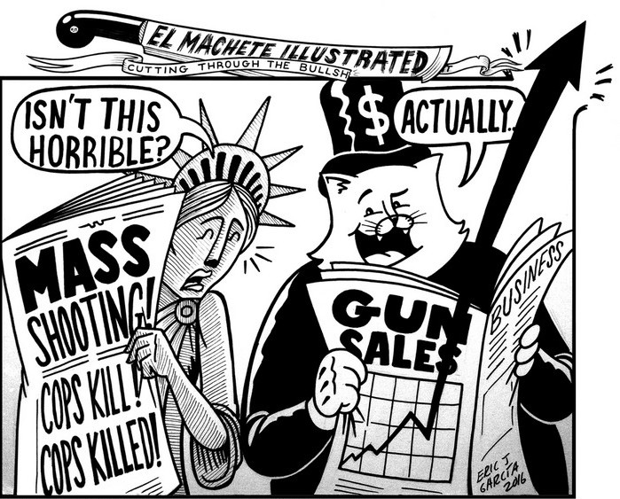 BlackCommentator.com July 14, 2016 - Issue 662: Gun Sales - Political Cartoon By Eric Garcia, Chicago IL