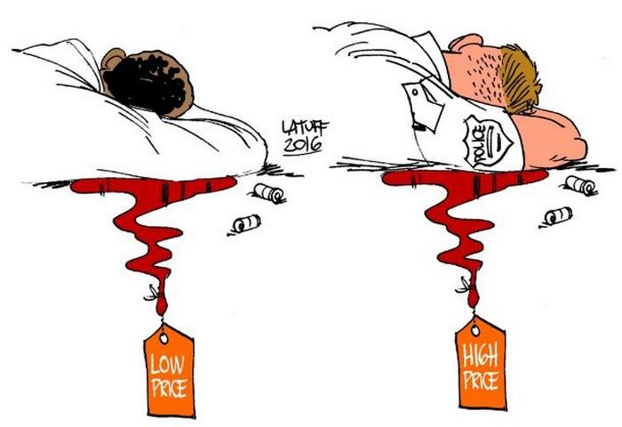 BlackCommentator.com July 21, 2016 - Issue 663: Which Life Has More Value? - Political Cartoon By Carlos Latuff, Rio de Janeiro Brazil