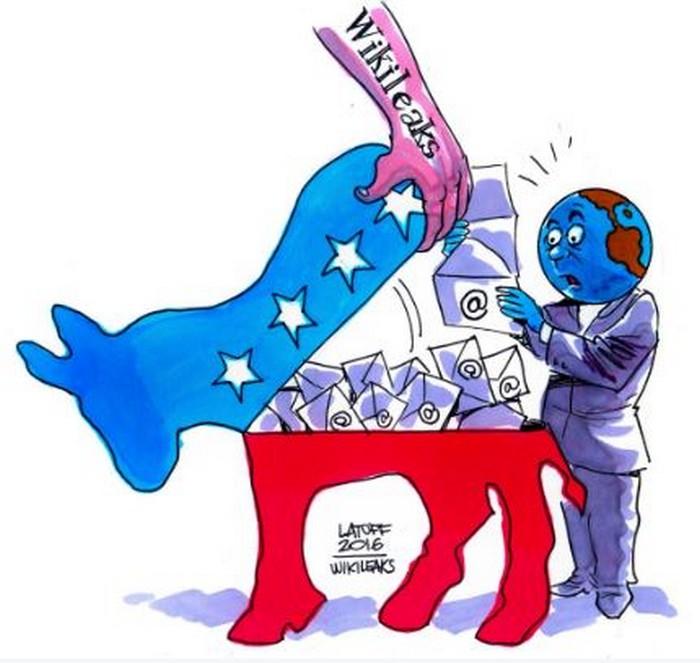 BlackCommentator.com July 28, 2016 - Issue 664: DNC Email Leaks - Political Cartoon By Carlos Latuff, Rio de Janeiro Brazil