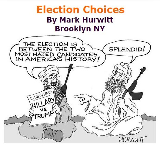 BlackCommentator.com September 08, 2016 - Issue 665: Election Choices - Political Cartoon By Mark Hurwitt, Brooklyn NY