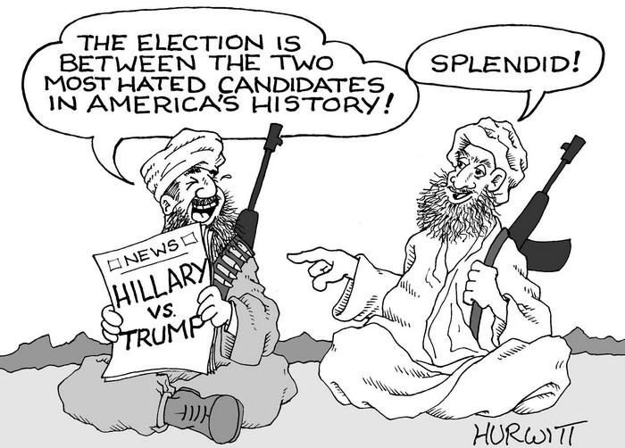 BlackCommentator.com September 08, 2016 - Issue 665: Election Choices - Political Cartoon By Mark Hurwitt, Brooklyn NY