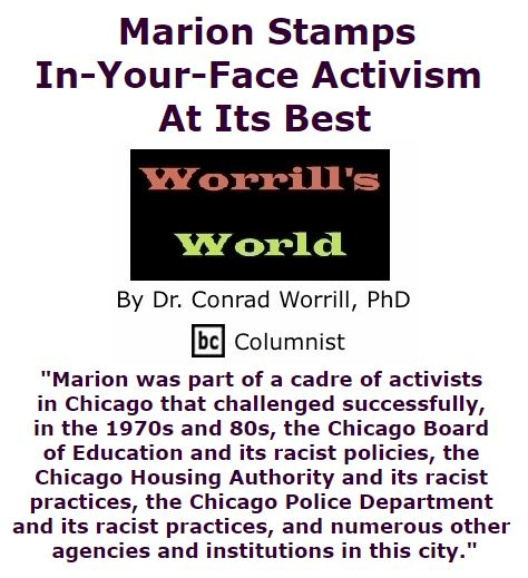 BlackCommentator.com September 08, 2016 - Issue 665: Marion Stamps: In-Your-Face Activism At Its Best - Worrill's World By Dr. Conrad W. Worrill, PhD, BC Columnist