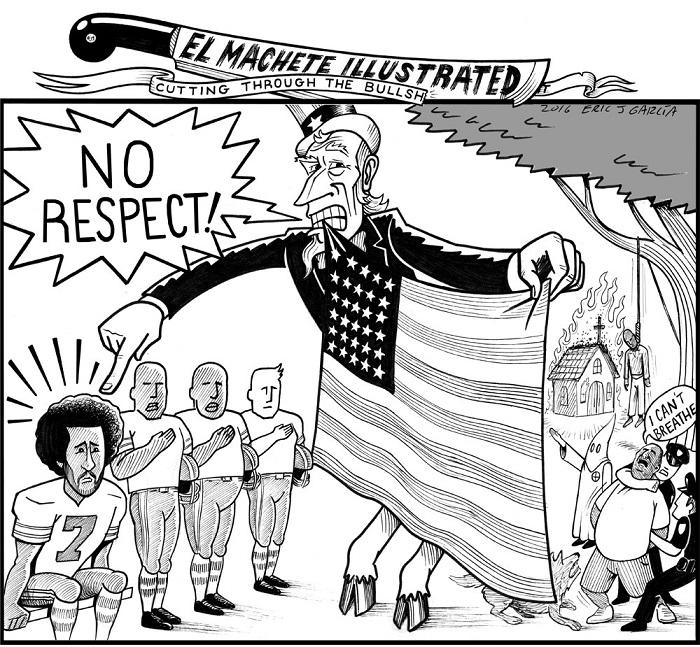 BlackCommentator.com September 15, 2016 - Issue 666: Colin Kaepernick - Political Cartoon By Eric Garcia, Chicago IL