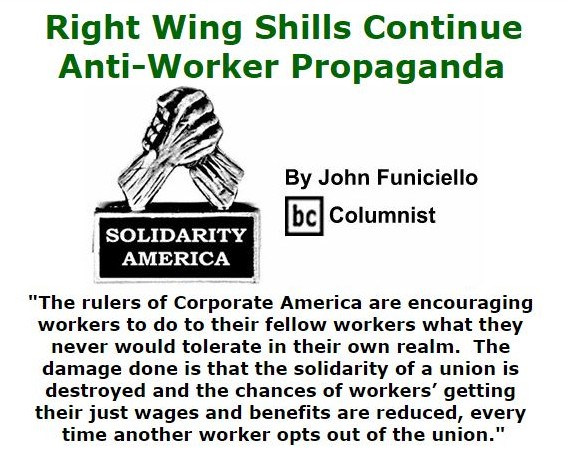BlackCommentator.com September 22, 2016 - Issue 667: Right Wing Shills Continue - Anti-Worker Propaganda - Solidarity America By John Funiciello, BC Columnist