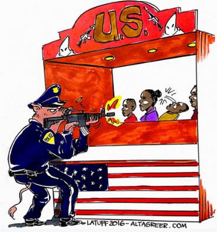 BlackCommentator.com September 29, 2016 - Issue 668: Just Another Black Man Killed by Cops in the US - Political Cartoon By Carlos Latuff, Rio de Janeiro Brazil