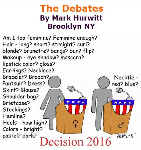 BlackCommentator.com September 29, 2016 - Issue 668: The Debates - Political Cartoon By Mark Hurwitt, Brooklyn NY