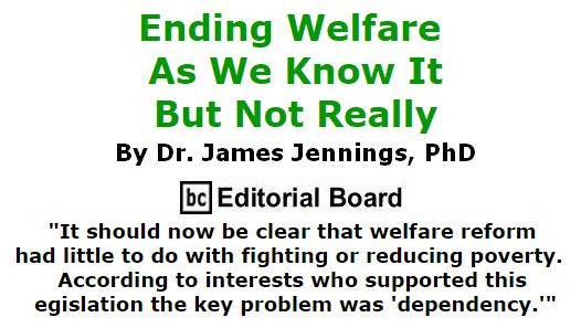 BlackCommentator.com September 29, 2016 - Issue 668: Ending Welfare As We Know It, But Not Really - By Dr. James Jennings, PhD, BC Editorial Board