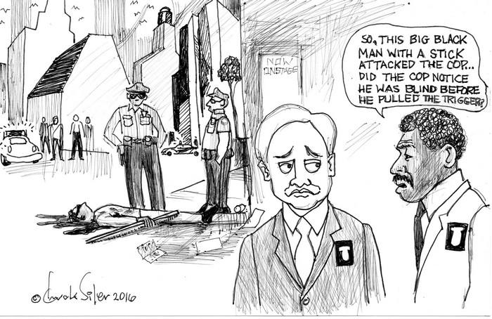 BlackCommentator.com October 06, 2016 - Issue 669: Blind Man - Political Cartoon By Chuck Siler, Carrollton TX