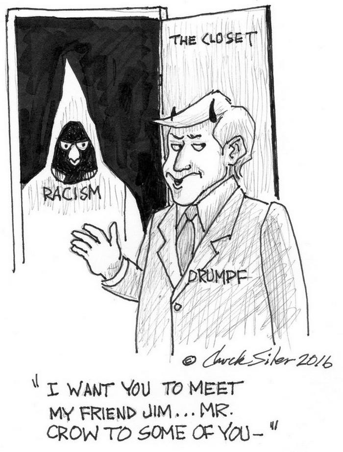 BlackCommentator.com October 20, 2016 - Issue 671: Trump's Closet - Political Cartoon By Chuck Siler, Carrollton TX