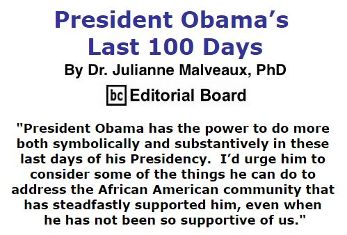 BlackCommentator.com October 20, 2016 - Issue 671: President Obama's Last 100 Days - By Dr. Julianne Malveaux, PhD, BC Editorial Board