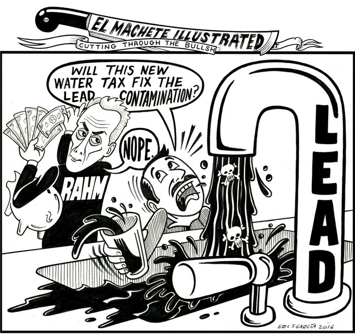 BlackCommentator.com October 27, 2016 - Issue 672: Lead Risks in Chicago Tap Water - Political Cartoon By Eric Garcia, Chicago IL