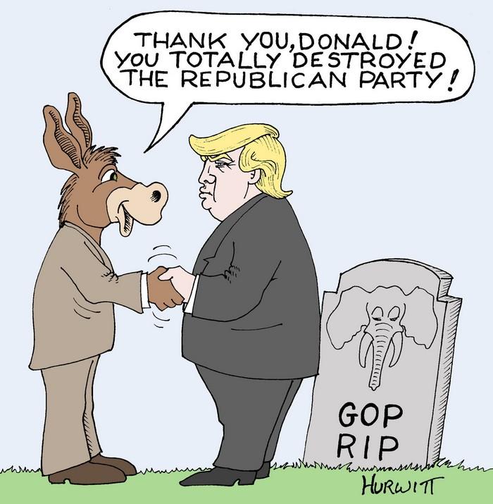 BlackCommentator.com October 27, 2016 - Issue 672: Trump & the GOP - Political Cartoon By Mark Hurwitt, Brooklyn NY