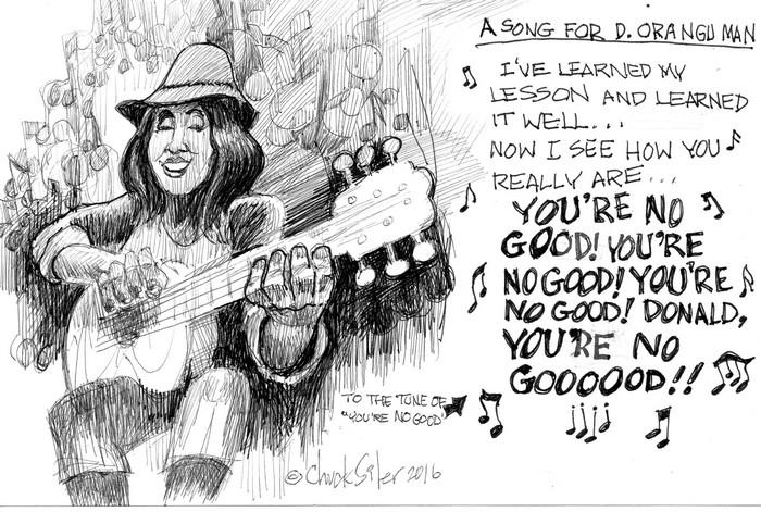 BlackCommentator.com November 03, 2016 - Issue 673: Trump Song - Political Cartoon By Chuck Siler, Carrollton TX