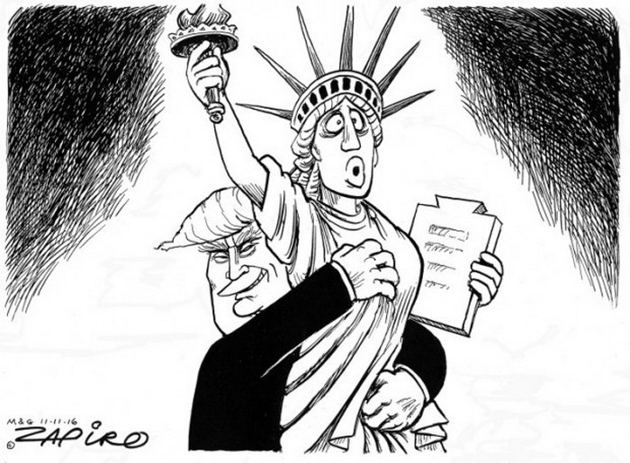 BlackCommentator.com November 11, 2016 - Issue 674: Lady Liberty Trumped - Political Cartoon By Zapiro, South Africa
