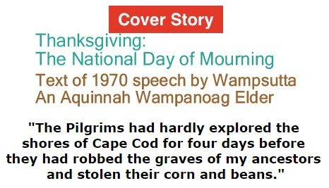 BlackCommentator.com - Thanksgiving - November 24, 2016 - Issue 676 Cover Story: Thanksgiving: The National Day of Mourning - Text of 1970 speech by Wampsutta - An Aquinnah Wampanoag Elder